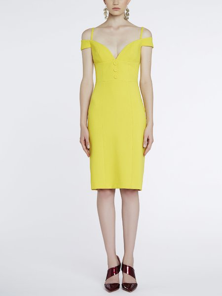 Sheath dress with sweetheart neckline - yellow