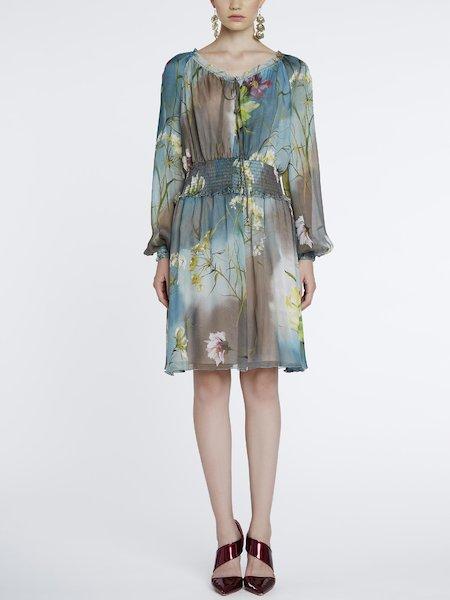 Knee-length floral-print dress - Grey