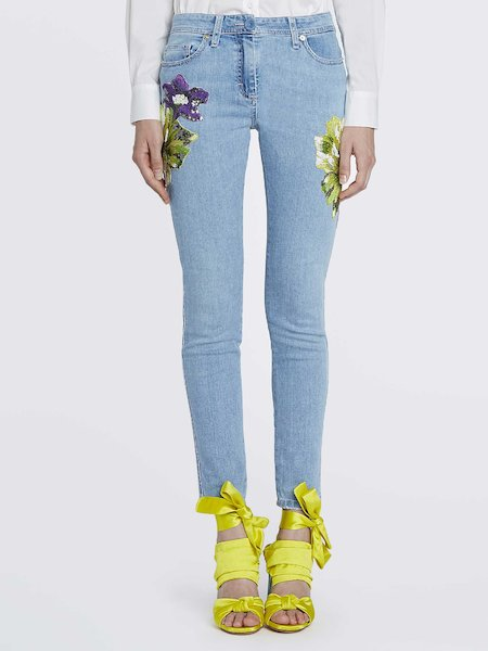 Skinny jeans with embroidery - blue