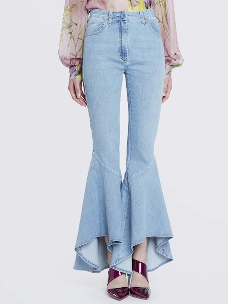 Jeans with bell-bottom styling