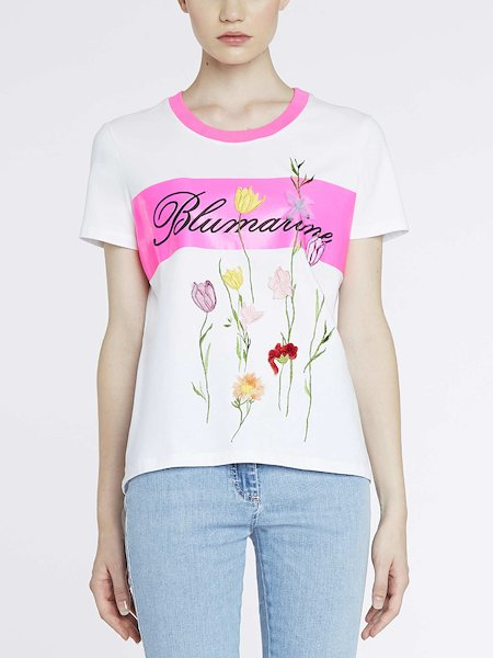 T-shirt with contrasting band and floral ramage - white