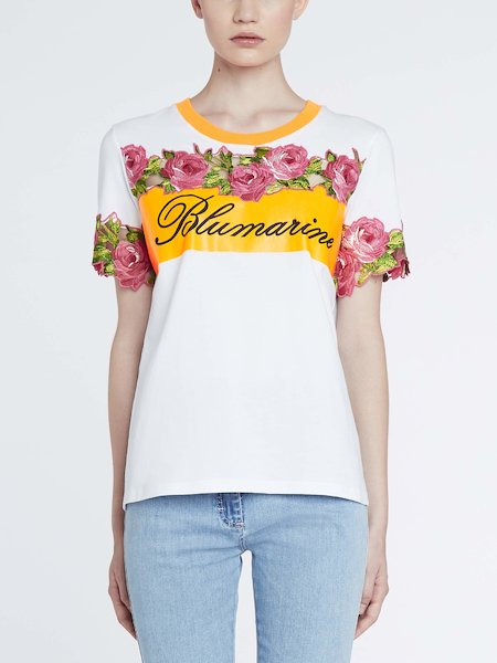 T-shirt with contrasting band and embroidered flowers - white