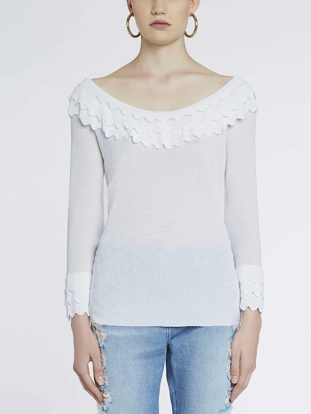 Long-sleeve sweater with flounces - white
