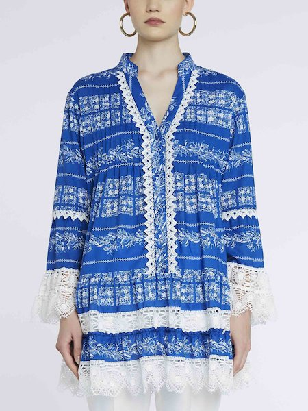 Bandana-print shirt-dress with lace - blue