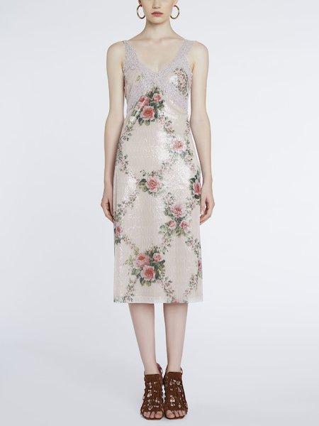 Платье с пайетками и кружевом