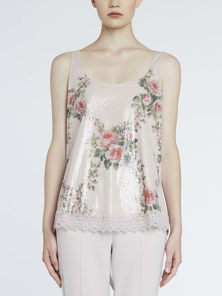 Top with sequins and lace