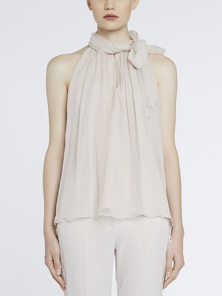 Blouse in chiffon with foulard - beige