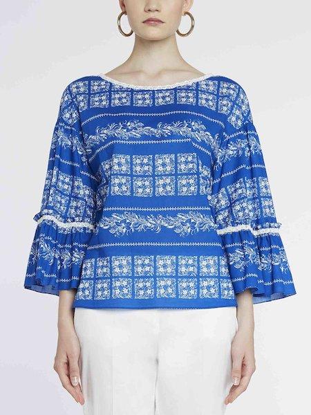 Bandana-print cotton blouse