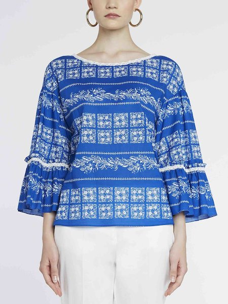 Bandana-print cotton blouse - blue