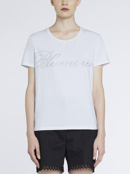 T-shirt Con Logo in Strass - Bianco
