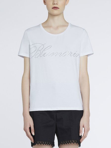 T-shirt with rhinestone logo - white