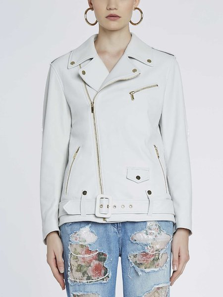 Leather biker jacket with logo - white