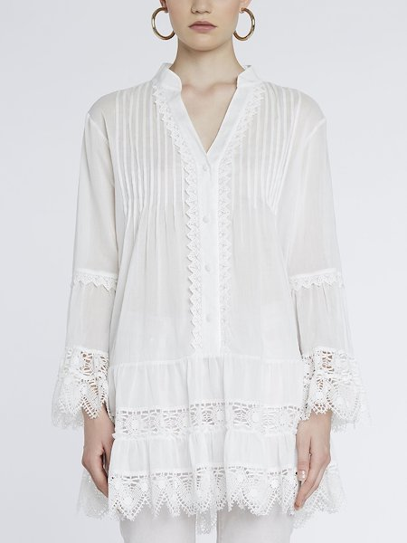 Shirt-dress with lace - white