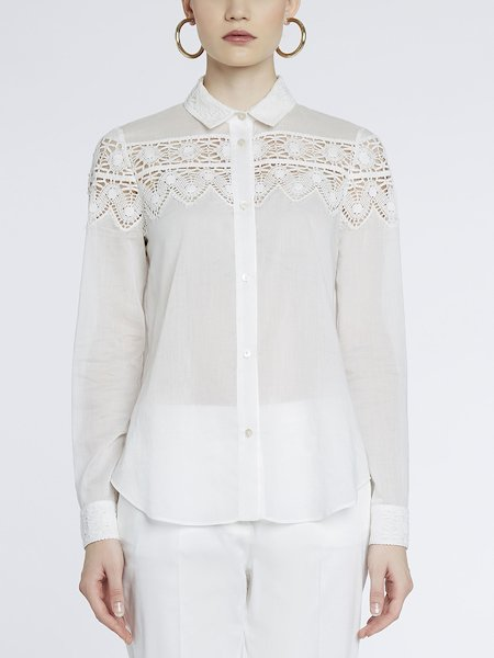 Cotton shirt with lace - white