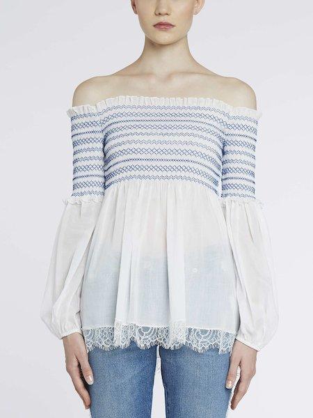 Smock-stitch blouse