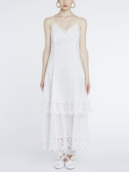 Long dress in cotton with lace - white