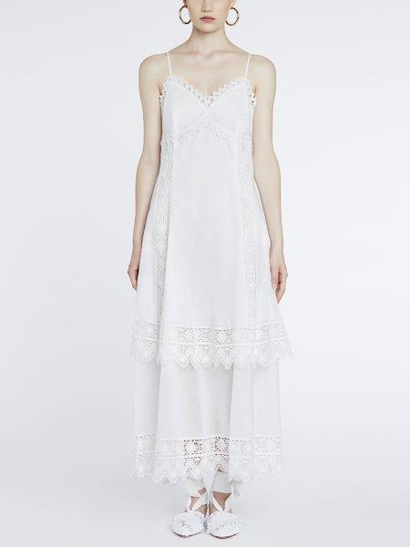 Длинное платье из хлопка с кружевом
