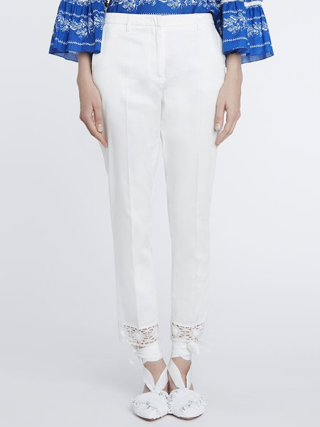 Trousers in cotton with lace - white