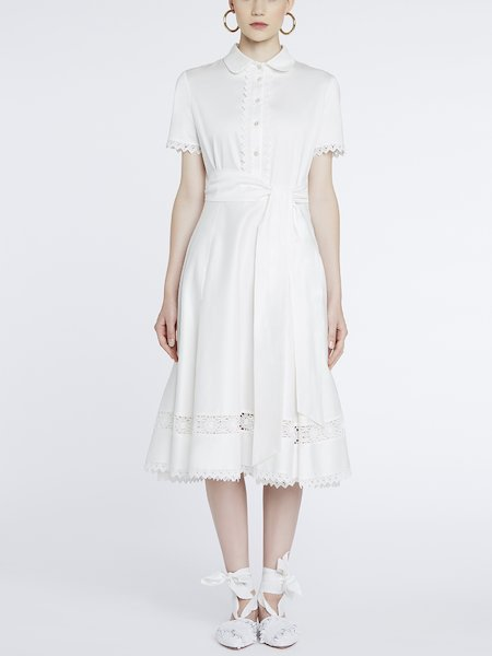 Dress in cotton with lace