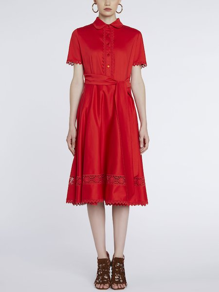 Dress in cotton with lace - red
