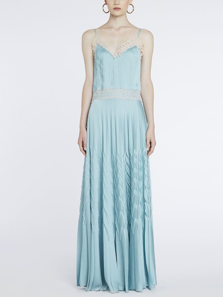 Dress in pleated satin with lace - blue