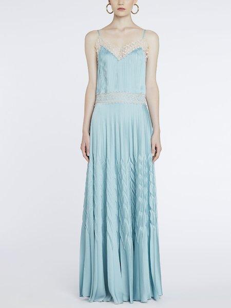 Платье из плиссированного атласа с кружевом - голубой