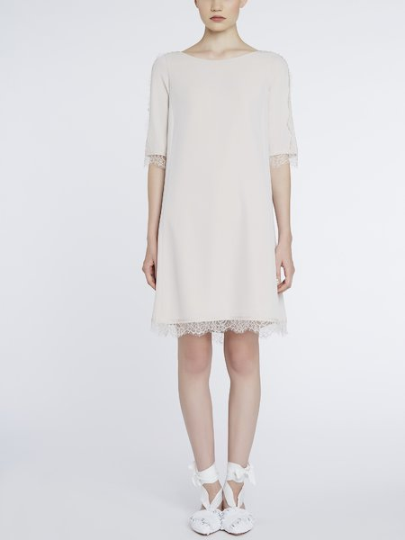 Dress trimmed in lace - beige