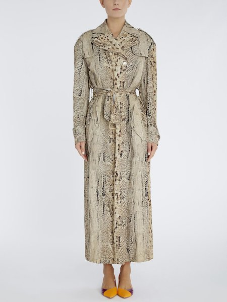 Trench coat in snakeskin-print viscose