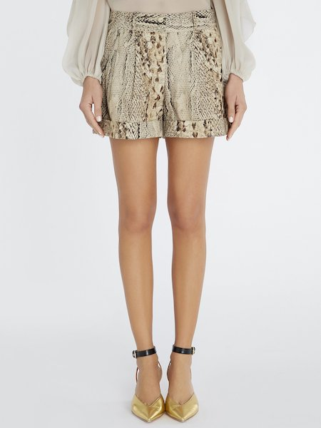 Snakeskin-print shorts