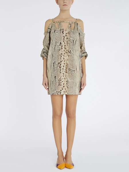 Snakeskin-print dress with studs - beige