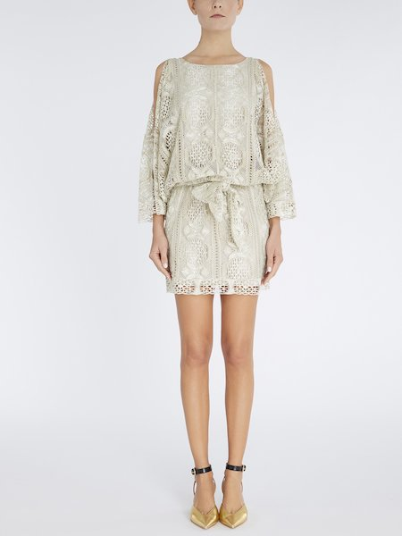 Dress in lace with sash - beige