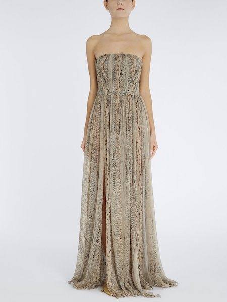 Long dress in snakeskin-print silk - beige