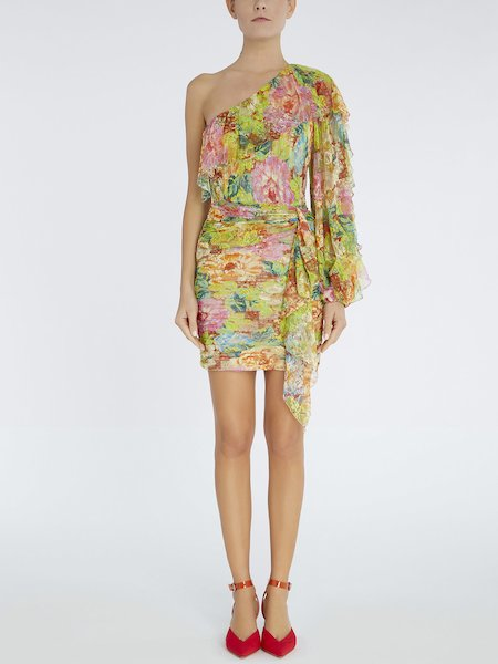 Single-shouldered dress in printed lace - Multicolored