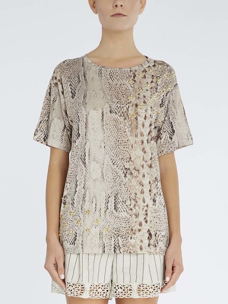Snakeskin-print T-shirt with studs