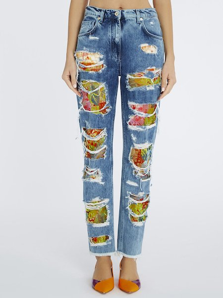 Jeans with lace insets - blue