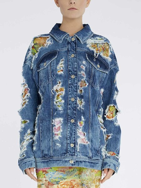Jeans jacket with lace insets - blue