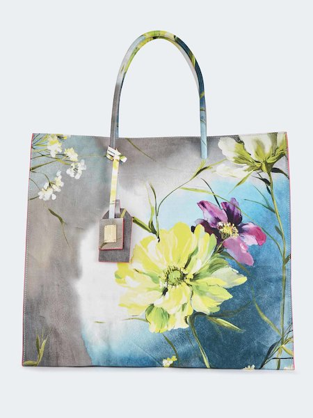 Shopping bag in leather with embossed floral pattern - Grey