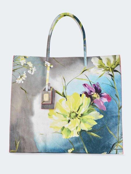 Bolso grande de cuero con estampado de flores - Grey