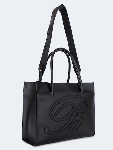 738e318e71b6 ... Shopper bag in leather with double handle - Black - 2