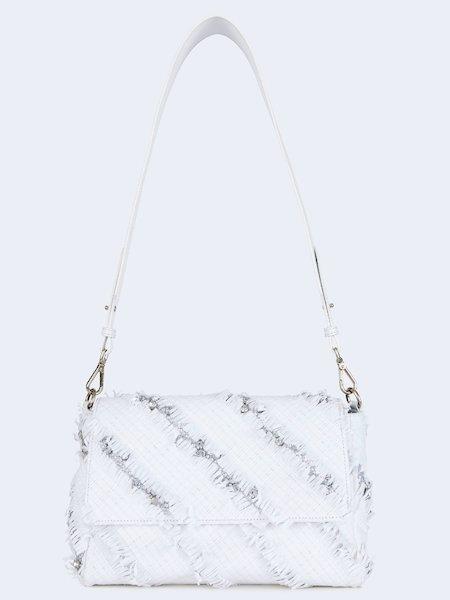 Handbag in woven leather with rhinestones
