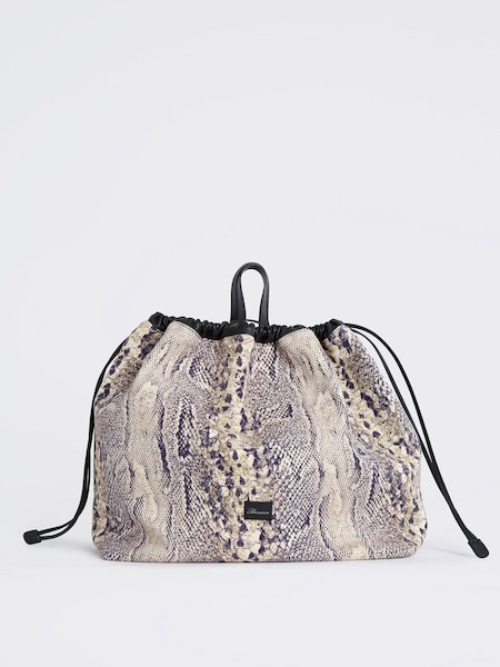 Handbag in snakeskin-print fabric - beige