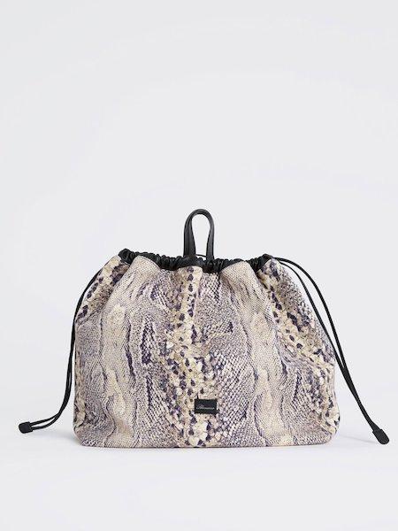 Handbag in snakeskin-print fabric