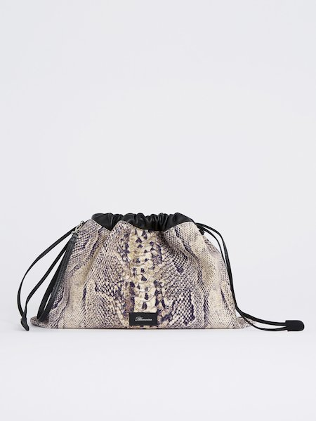 Clutch bag in snakeskin-print fabric - beige