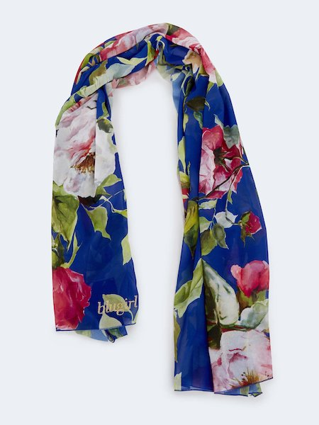 Rose-print scarf - blue