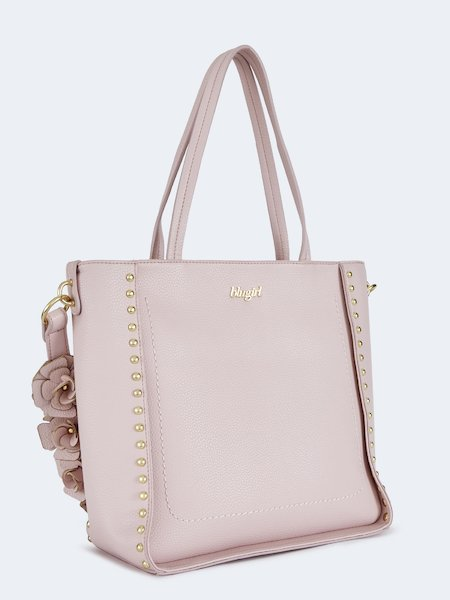 e452ea425ed40 ... Shopping bag with appliquéd flowers and studs - pink - 2
