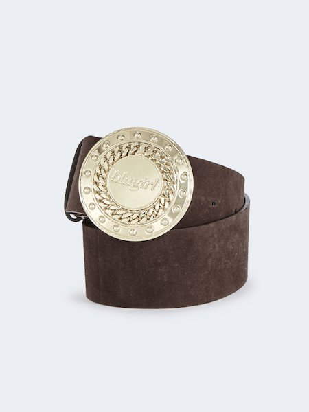 Suede belt with buckle in gold-tone metal - Brown