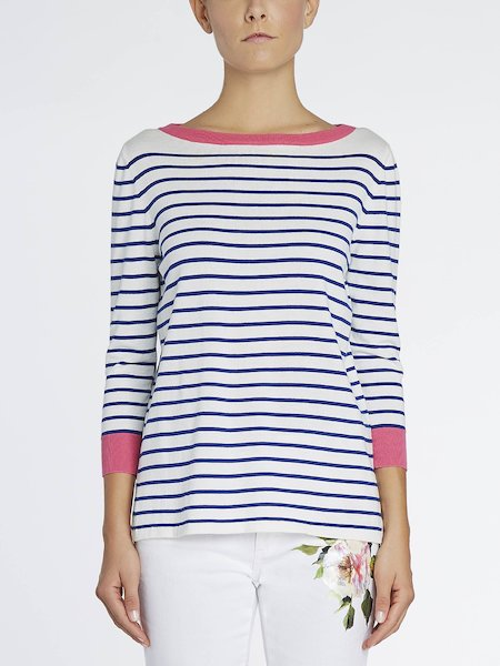 Striped sweater with contrasting trim - white