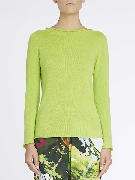 Sweater in cashmere with logo - Green
