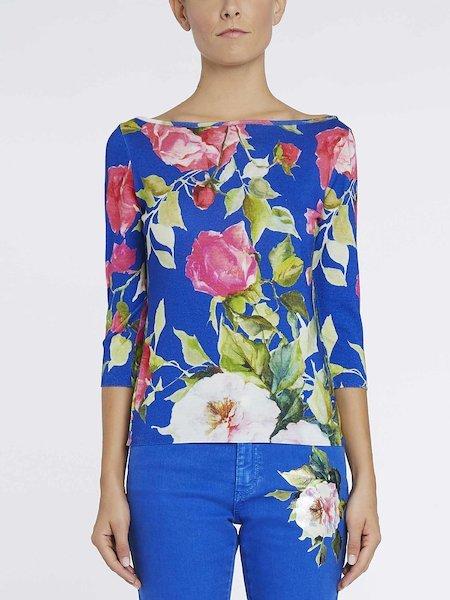 Pull en laine imprimé roses - bleu