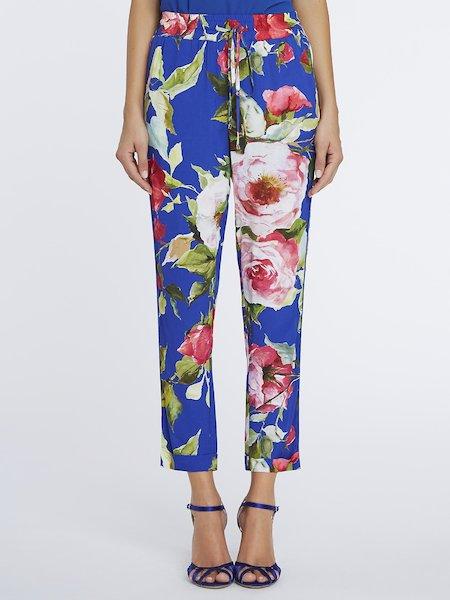 Pantalon cropped imprimé roses